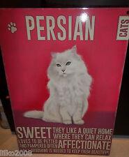 """PERSIAN  CAT 12""""X 8"""" MEDIUM METAL SIGN 30X20CM WITH CHARACTER DESCRIPTION"""
