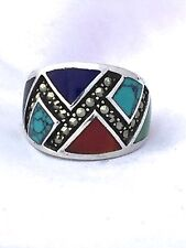 Vintage Sterling Silver Ring Turquoise Lapis Carnelian Marcasites Size 5.5
