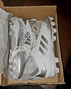 Mens Adidas Afterburner V CG5236 Baseball Cleats Size 9 White and Silver New