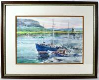 Original Irish Art Watercolour Painting Fishing Harbour c1980s/90s Signed