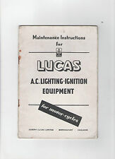 LUCAS ELECTRIC LIGHTING-IGNITION INSTRUCTIONS / MANUAL / HANDBOOK - MOTORCYCLES