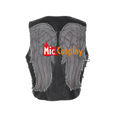 The Walking Dead Daryl Dixon Angel Wings Cosplay Vest Leather Black Costume