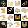 Fashion Unisex Gold Punk Bangle Open Cuff Hollow Out Wide Bracelet Jewelry Gift