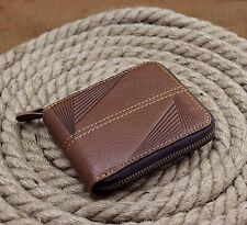 Mens Embossed Genuine Leather Cowhide Zipper Around Card Slots Coin Wallet Purse