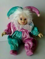 """Sweet Vintage 8"""" Porcelain Harlequin Clown Doll Jester Pink Teal Mardi Gras <3"""