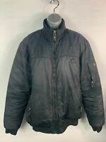 MENS TIME OUT BLACK CASUAL PADDED WINTER PUFFER JACKET ZIP UP COAT SIZE LARGE