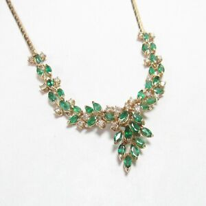 Estate 14K Yellow Gold Natural Green Emerald Diamond Cluster Necklace 3.00 Cts