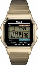 Timex T78677 Men Classic Quartz Watch with LCD Dial Digital Display and Gold Sta