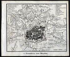 BRESLAU WROCLAW - Stadtplan Original-Lithographie 1840!