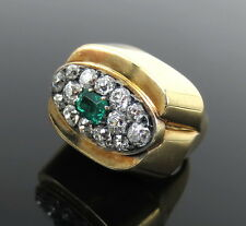 Vintage David Webb 1.50ct Diamond & 0.50ct Colombian Emerald 18K Gold Ring