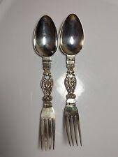 Antique Coppini 800 Silver Medicine Fold Spoon Fork Gothic Angel Devil Design