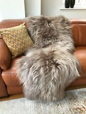 XXL Large Genuine Icelandic Fawn/Taupe/Cacao Brown Sheepskin Fur Double Rug