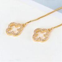 18K Gold GF Crystal Four Leaf Clover Tassel Drop Dangle Stud Earrings Quality