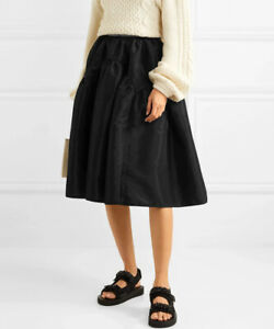 Cecilie Bahnsen Tina Black Tafetta Midi Skirt Size UK 6 XS 2