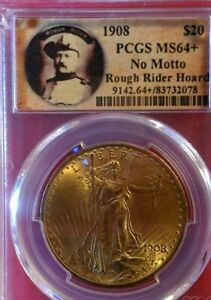 1908 NO Motto GOLD $20 SAINT GAUDENS  ROUGH RIDER HOARD PCGS MINT STATE 64+