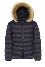 UK Mens Winter Warm Trench Coat Fur Hooded Jacket Parker Padded Overcoat Outwear