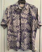 Vintage Cooke Street Mens Reverse Print Hawaiian Shirt L Navy Green Leaf Print