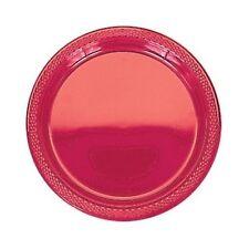 20 assiettes plates en plastique rouge Ø 23 cm [10053] decoration de table fetes