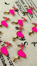 Flamingo bird charm 3 gold and hot pink pendant jewellery supplies