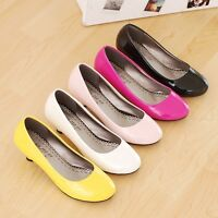 Womens Round Toes Shoes Synthetic Leather Med Kitten Heels Pumps AU Size S044