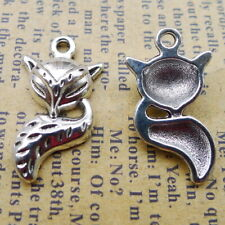 150pcs tibetan silver color 13x24mm crafted Fox charms  WW142