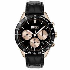 New Hugo Boss Men's Talent Black Leather Chronograph Watch HB1513580