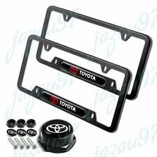 For 2PCS TOYOTA New Black Stainless Steel Metal License Plate Frame W/ Screws