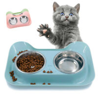 Cat Puppy Feeder Stainless Steel Feeding Bowls Pet Bowl Double Water Food Dish