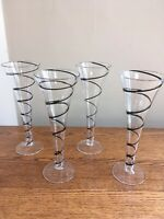 "Set of 4 Hollow Stem Black Swirl 9"" Champagne Flutes"