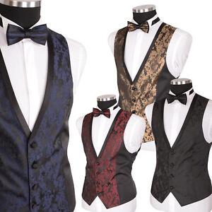 Herren Weste Hochzeitsweste Anzug Party Elegant Schwarz Gold Blau Bordeaux Rot