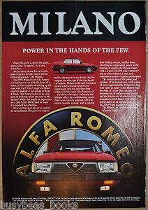 1987 ALFA ROMEO MILANO advertisement, Alfa Romeo Milano sedan front view