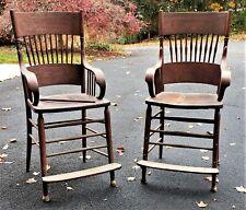 Victorian Era Tall Bent Wood Arm Spindle Back Billiard Pool Hall Spectator Chair
