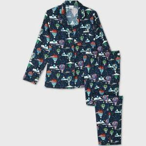 Men's Holiday Hot Air Balloon Print Flannel Matching Family Pajama Set Medium