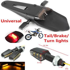 Universal Motorcycle Enduro Smoke LED Fender Brake Tail Light w/ 2 Turn Signals