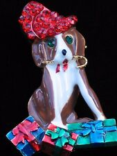 """CHRISTMAS CANDY CANE PRESENTS ELF SANTA PUPPY DOG PIN BROOCH PENDANT JEWELRY 2"""""""