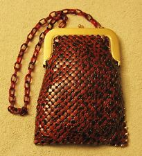 RARE WHITING & DAVIS Art Deco Black Brown Metal Mesh Evening Bag w/ Lucite Strap