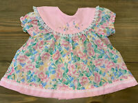 Vintage Cradle Togs Infant Baby Dress Pink Blue Floral Embroidery 6 - 9 Months