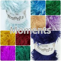 King Cole Moments DK Fluffy Furry Eyelash Knitting Yarn 50g Ball - 20+ Colours
