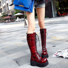 UK Womens Platform Lace Up Punk Gothic Knee High Boots Round Toe High Heel Shoes