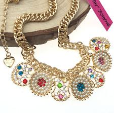 Jewelry Betsey Johnson Rhinestone Pearl Pendant Round Sweet Gold Necklaces Hot
