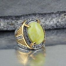 chevalière homme stainless steel couleur argent /or cabochon  agate jaune T.58