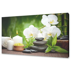 ORCHID CANDLES BAMBOO ZEN STONES CANVAS PICTURE PRINT WALL ART HOME SPA DECOR