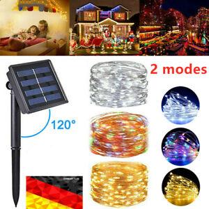 100-200 LED Lichterkette Solar Kupferdraht Beleuchtung Garten Party Deko Außen