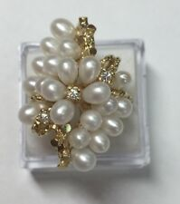natural (REAL) 3- DIAMOND & PEARL cluster ring SOLID 14K yellow GOLD