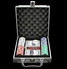 Deluxe Travel Poker Set – Chips Cards, Dice And Dealer Button Aluminum Case NEW