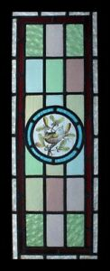Rare Antique Painted Bird Wren In Mistletoe English Stained Glass Window