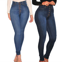 Womens Button Stretchy High Waisted Jeans Trousers Skinny Jeggings Denim Pants