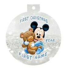 BABY MICKEY MOUSE First Christmas Ornament Personalized Any Name & Message