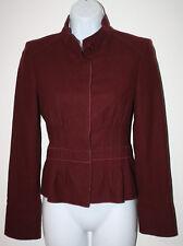 HUGO BOSS Cranberry Wine Pleated LS Wool Jacket 2 S Peplum