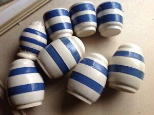 Cornish Ware..Vintage Salt Pepper Pots and Egg Cups